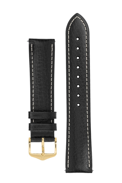 Hirsch Boston Buffalo Calfskin Leather Watch Strap in Black with White Contrast Stitch (with Polished Gold Steel H-Standard Buckle)
