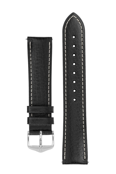Hirsch Boston Buffalo Calfskin Leather Watch Strap in Black with White Contrast Stitch (with Polished Silver Steel H-Standard Buckle)