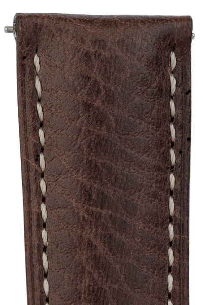 Hirsch Boston Buffalo Calfskin Leather Watch Strap in Brown with White Contrast Stitch (Texture Detail)