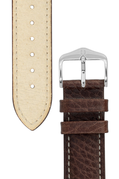 Hirsch Boston Buffalo Calfskin Leather Watch Strap in Brown with White Contrast Stitch (Tapers & Buckle)