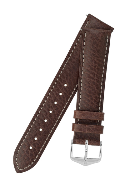 Hirsch Boston Buffalo Calfskin Leather Watch Strap in Brown with White Contrast Stitch