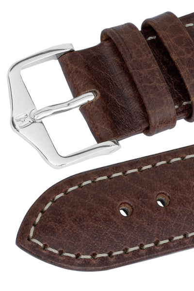 Hirsch Boston Buffalo Calfskin Leather Watch Strap in Brown with White Contrast Stitch (Keepers)