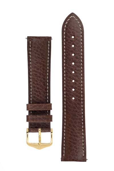 Hirsch Boston Buffalo Calfskin Leather Watch Strap in Brown with White Contrast Stitch (with Polished Gold Steel H-Standard Buckle)