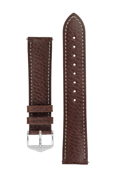 Hirsch Boston Buffalo Calfskin Leather Watch Strap in Brown with White Contrast Stitch (with Polished Silver Steel H-Standard Buckle)
