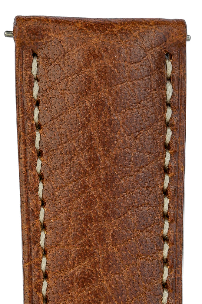 Hirsch Boston Buffalo Calfskin Leather Watch Strap in Gold Brown with White Contrast Stitch (Texture Detail)