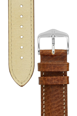 Hirsch Boston Buffalo Calfskin Leather Watch Strap in Gold Brown with White Contrast Stitch (Tapers & Buckle)