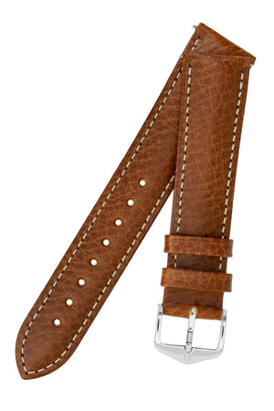 Hirsch Boston Buffalo Calfskin Leather Watch Strap in Gold Brown with White Contrast Stitch