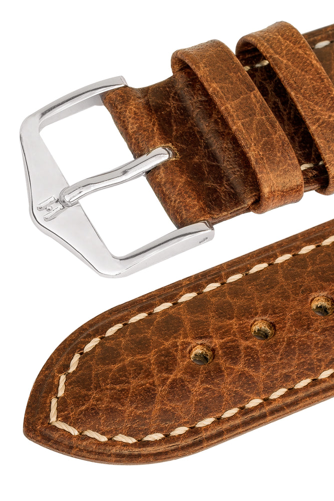 Hirsch Boston Buffalo Calfskin Leather Watch Strap in Gold Brown with White Contrast Stitch (Keepers)