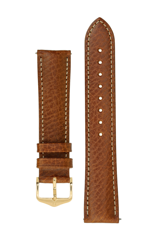 Hirsch Boston Buffalo Calfskin Leather Watch Strap in Gold Brown with White Contrast Stitch (with Polished Gold Steel H-Standard Buckle)