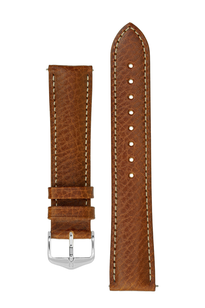 Hirsch Boston Buffalo Calfskin Leather Watch Strap in Gold Brown with White Contrast Stitch (with Polished Silver Steel H-Standard Buckle)