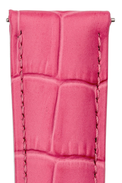 Hirsch Duke Alligator-Embossed Leather Watch Strap in Pink (Texture Detail)