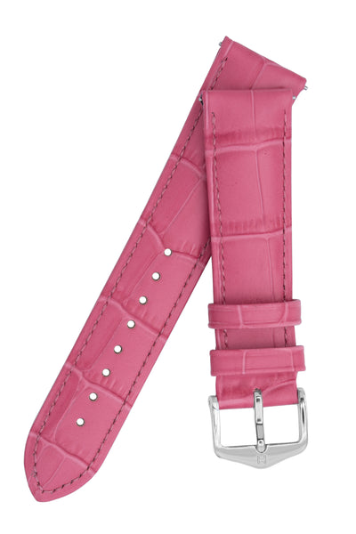Hirsch Duke Alligator-Embossed Leather Watch Strap in Pink