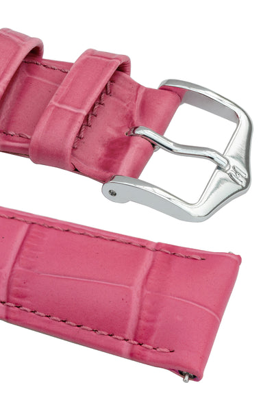 Hirsch Duke Alligator-Embossed Leather Watch Strap in Pink (Keepers & Padding)