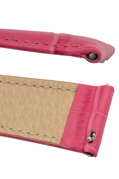 Hirsch Duke Alligator-Embossed Leather Watch Strap in Pink (Quick-Release Spring Bars)
