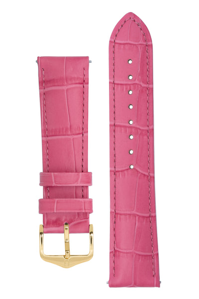 Hirsch Duke Alligator-Embossed Leather Watch Strap in Pink (with Polished Gold Steel H-Standard Buckle)