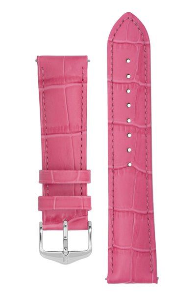 Hirsch Duke Alligator-Embossed Leather Watch Strap in Pink (with Polished Silver Steel H-Standard Buckle)