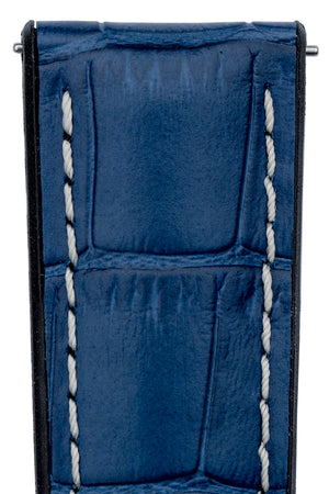 Hirsch George Alligator-Embossed Rubber-Lined Performance Watch Strap in Blue with White Stitch (Texture Detail)