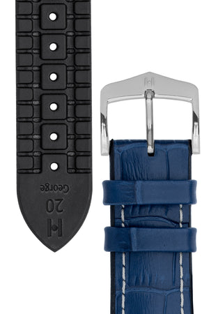 Hirsch George Alligator-Embossed Rubber-Lined Performance Watch Strap in Blue with White Stitch (Tapers & Buckle)