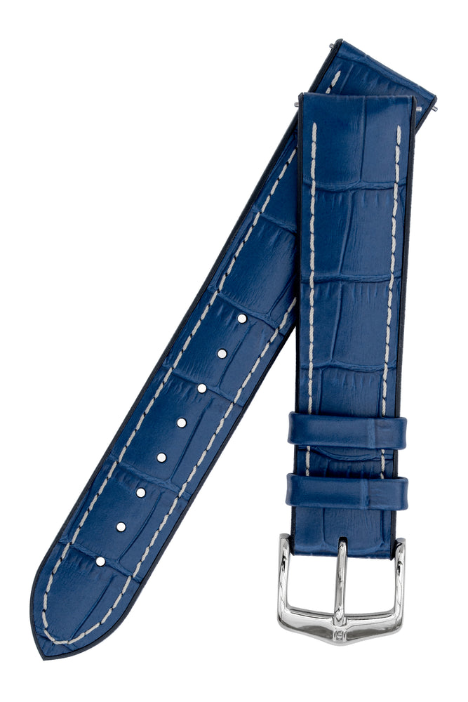 Hirsch George Alligator-Embossed Rubber-Lined Performance Watch Strap in Blue with White Stitch