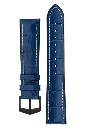 Hirsch George Alligator-Embossed Rubber-Lined Performance Watch Strap in Blue with White Stitch (with Black PVD-Coated Steel H-Classic Buckle)