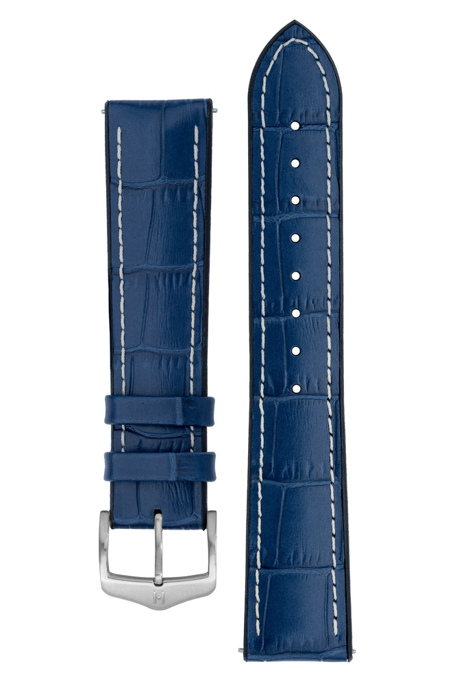 Hirsch George Alligator-Embossed Rubber-Lined Performance Watch Strap in Blue with White Stitch (with Brushed Silver Steel H-Classic Buckle)