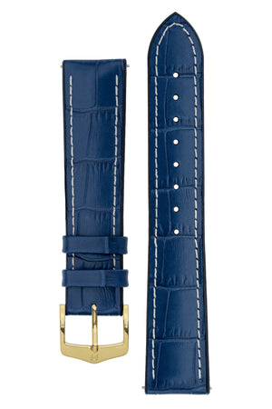 Hirsch George Alligator-Embossed Rubber-Lined Performance Watch Strap in Blue with White Stitch (with Polished Gold Steel H-Classic Buckle)