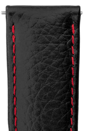 Hirsch Kansas Buffalo-Embossed Calf Leather Watch Strap in Black with Red Stitch (Close-Up Texture Detail)