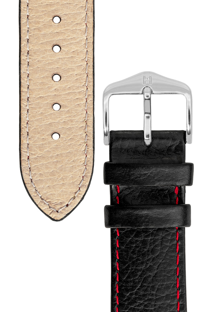 Hirsch Kansas Buffalo-Embossed Calf Leather Watch Strap in Black with Red Stitch (Underside & Tapers)