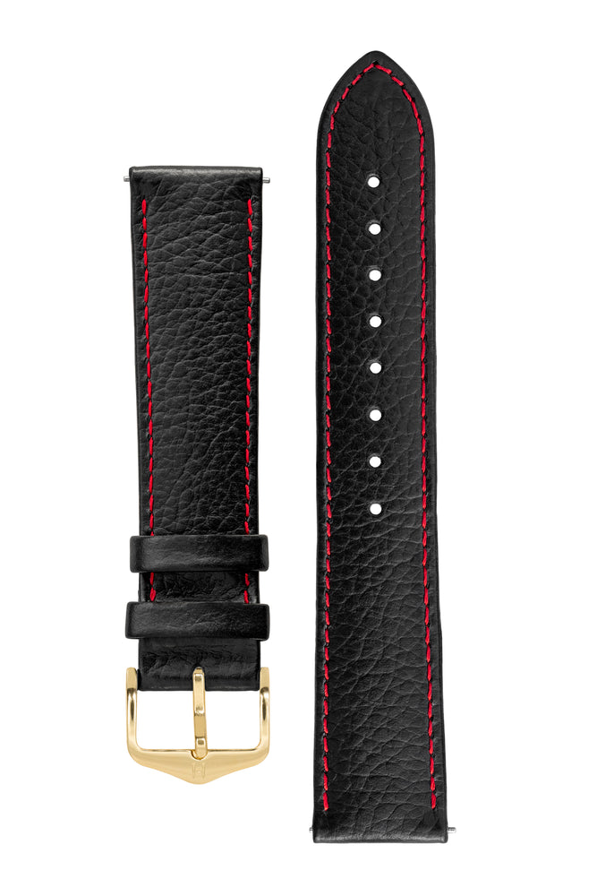 Hirsch Kansas Buffalo-Embossed Calf Leather Watch Strap in Black with Red Stitch (with Polished Gold Steel H-Tradition Buckle)