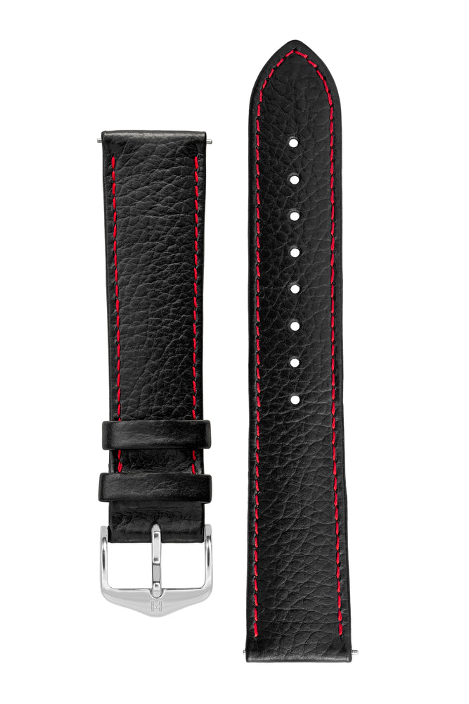 Hirsch Kansas Buffalo-Embossed Calf Leather Watch Strap in Black with Red Stitch (with Polished Silver Steel H-Tradition Buckle)
