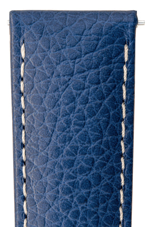 Hirsch Kansas Buffalo-Embossed Calf Leather Watch Strap in Blue with White Stitch (Close-Up Texture Detail)