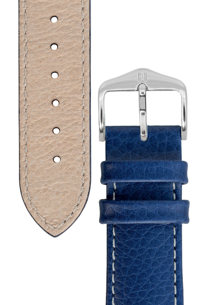 Hirsch Kansas Buffalo-Embossed Calf Leather Watch Strap in Blue with White Stitch (Underside & Tapers)