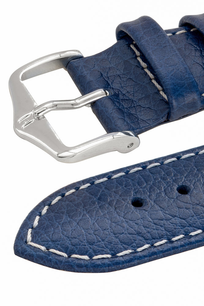 Hirsch Kansas Buffalo-Embossed Calf Leather Watch Strap in Blue with White Stitch (Three-Quarter View)