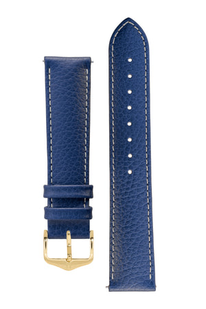 Hirsch Kansas Buffalo-Embossed Calf Leather Watch Strap in Blue with White Stitch (with Polished Gold Steel H-Tradition Buckle)