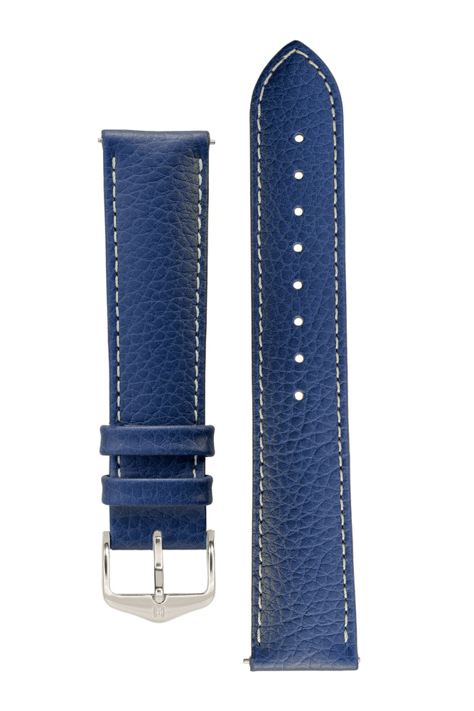 Hirsch Kansas Buffalo-Embossed Calf Leather Watch Strap in Blue with White Stitch (with Polished Silver Steel H-Tradition Buckle)
