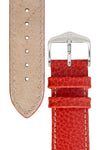 Hirsch KANSAS Buffalo-Embossed Calf Leather Watch Strap in RED with White Stitch
