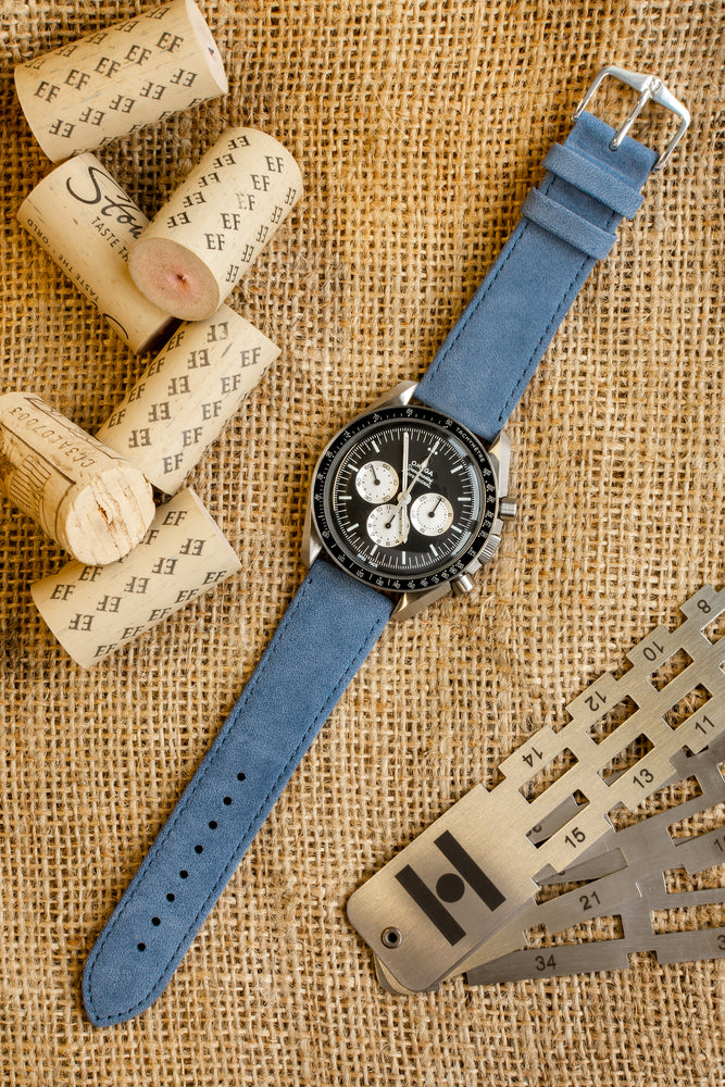 Hirsch Osiris Limited Edition Calf Leather With Nubuck Effect Watch Strap in Blue (Promo Photo)