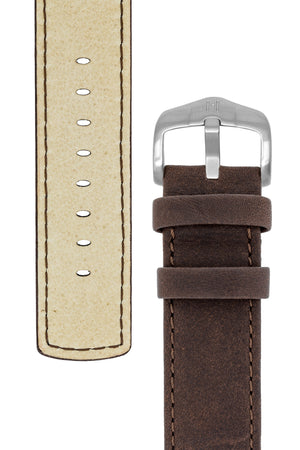 Hirsch REBEL Leather Nato Style Watch Strap in BROWN