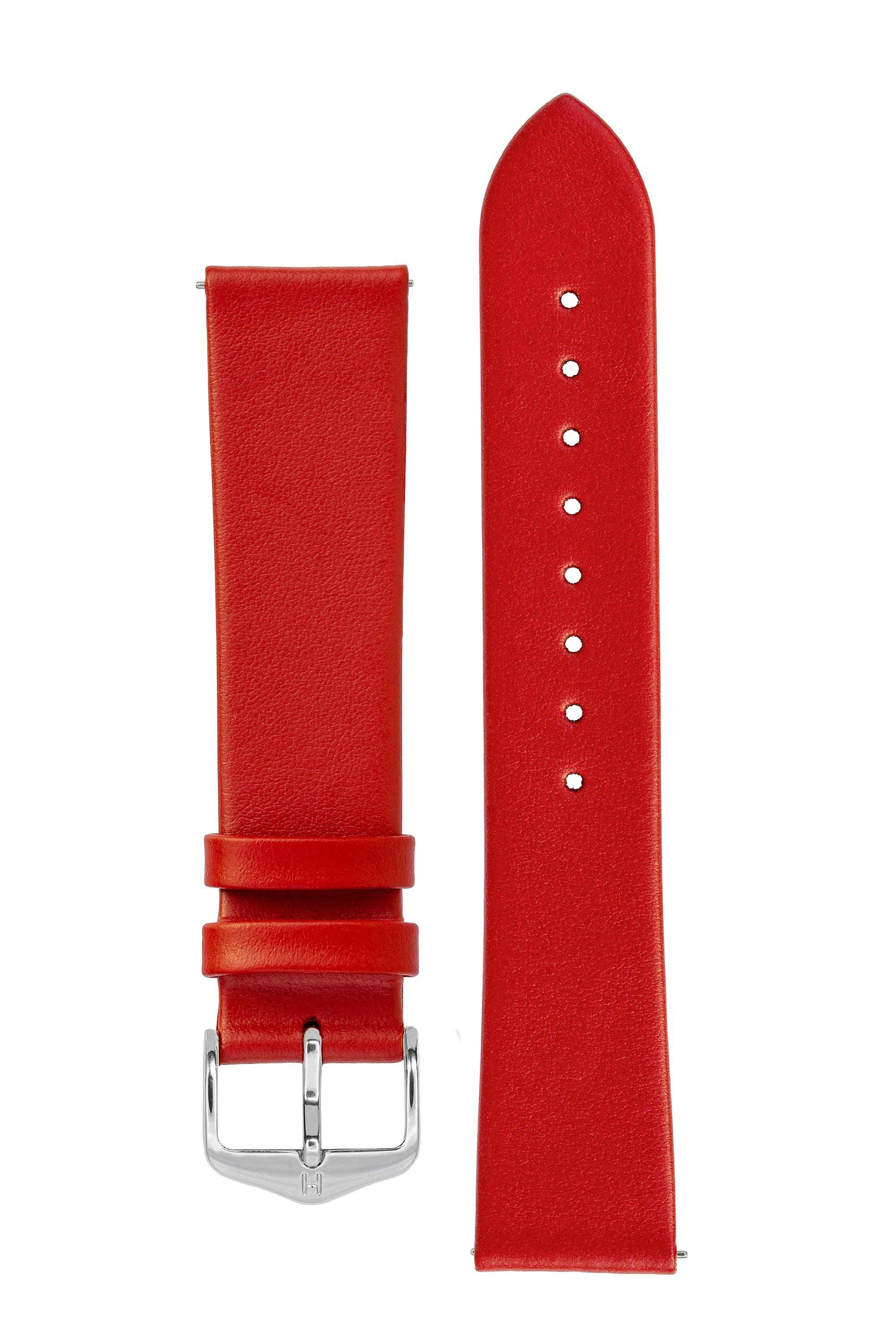 Hirsch TORONTO Fine-Grained Leather Watch Strap in RED