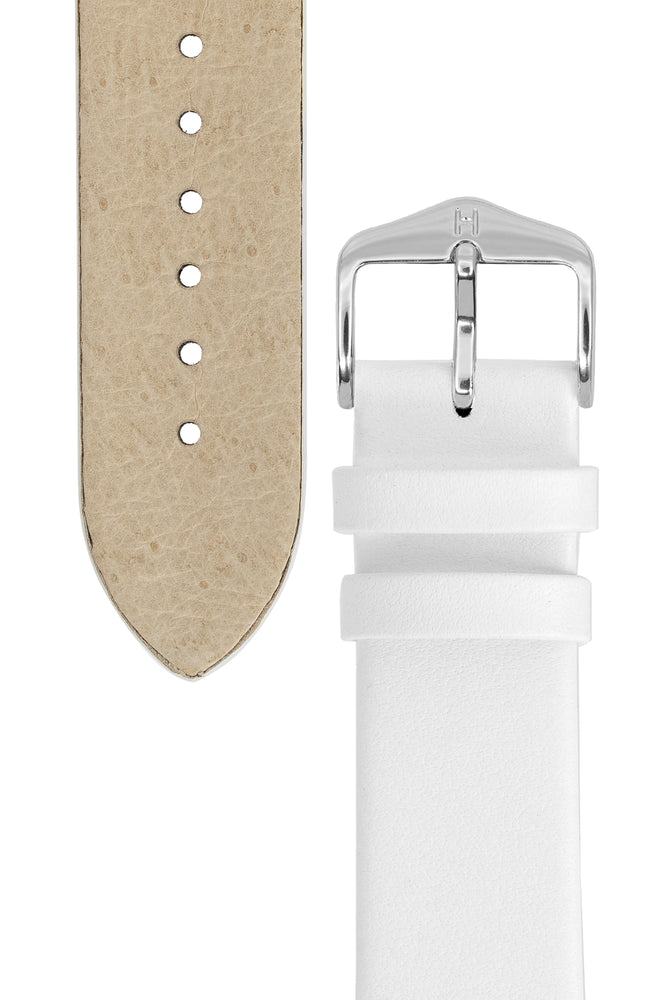 Hirsch Toronto Fine-Grained Leather Watch Strap in White (Underside & Tapers)
