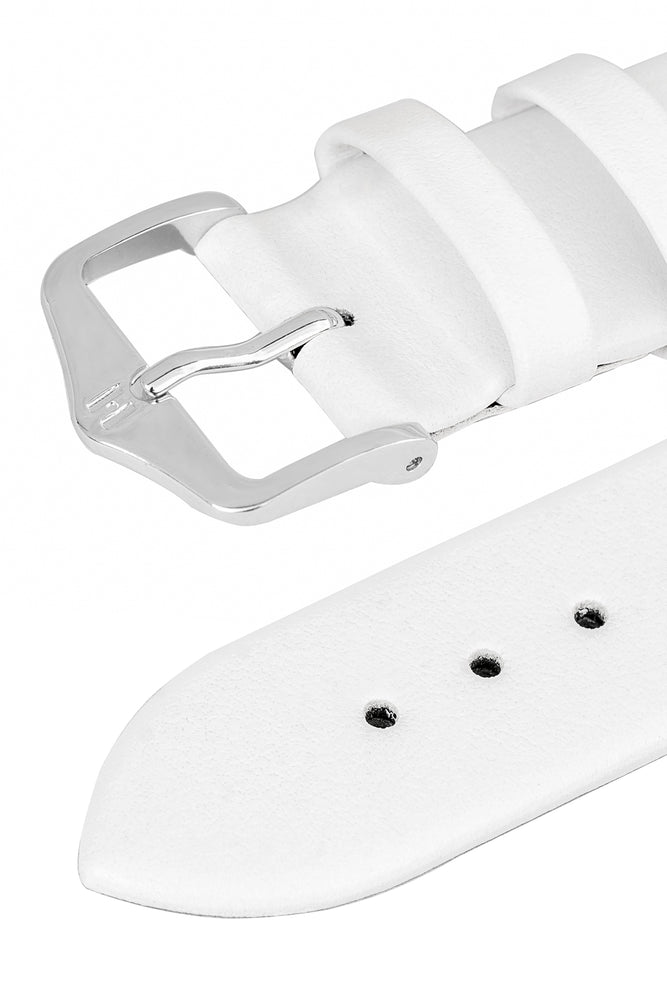Hirsch Toronto Fine-Grained Leather Watch Strap in White (Keepers)