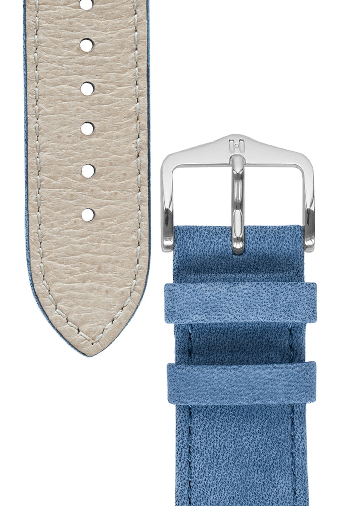 Hirsch Osiris Limited Edition Calf Leather With Nubuck Effect Watch Strap in Blue (Underside & Tapers)