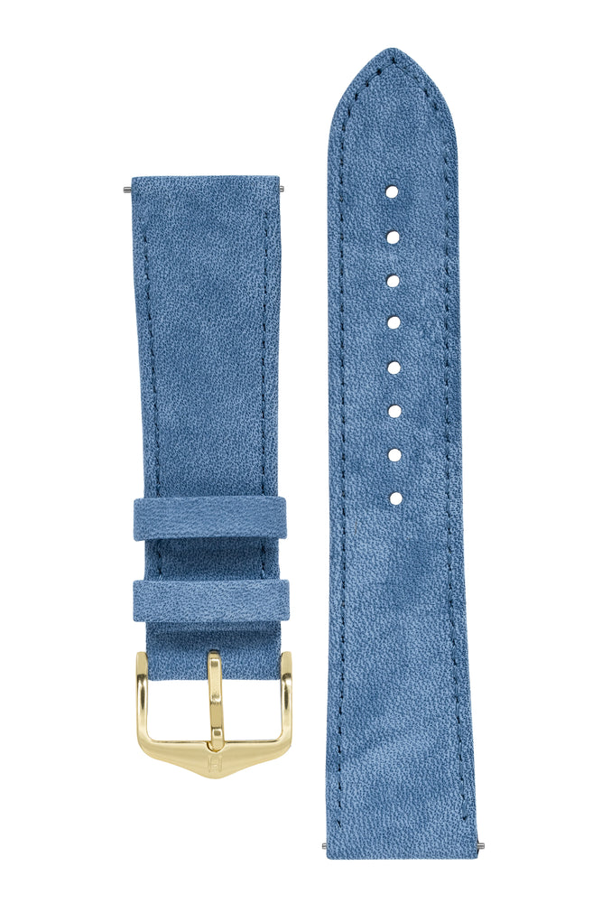 Hirsch Osiris Limited Edition Calf Leather With Nubuck Effect Watch Strap in Blue (with Polished Gold Steel H-Standard Buckle)