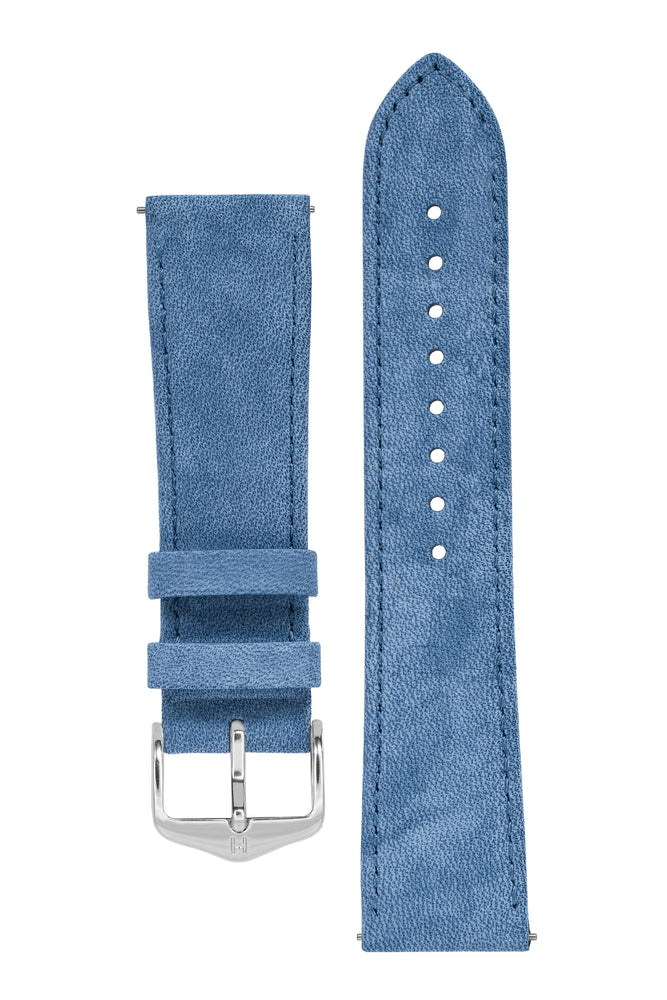 Hirsch Osiris Limited Edition Calf Leather With Nubuck Effect Watch Strap in Blue (with Polished Silver Steel H-Standard Buckle)