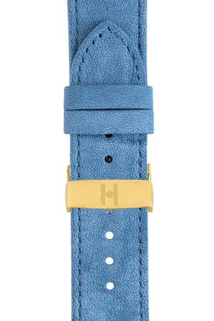 Hirsch Osiris Limited Edition Calf Leather With Nubuck Effect Watch Strap in Blue (with Polished Gold Steel Sport Deployment Clasp)