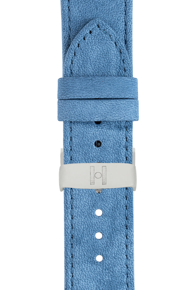 Hirsch Osiris Limited Edition Calf Leather With Nubuck Effect Watch Strap in Blue (with Polished Silver Steel Sport Deployment Clasp)