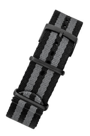 Premium NATO Watch Strap in BLACK & GREY with Black PVD Hardware