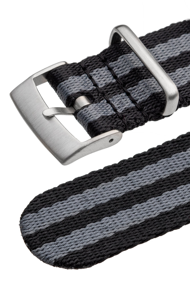 Premium NATO Watch Strap in BLACK & GREY with Brushed Hardware