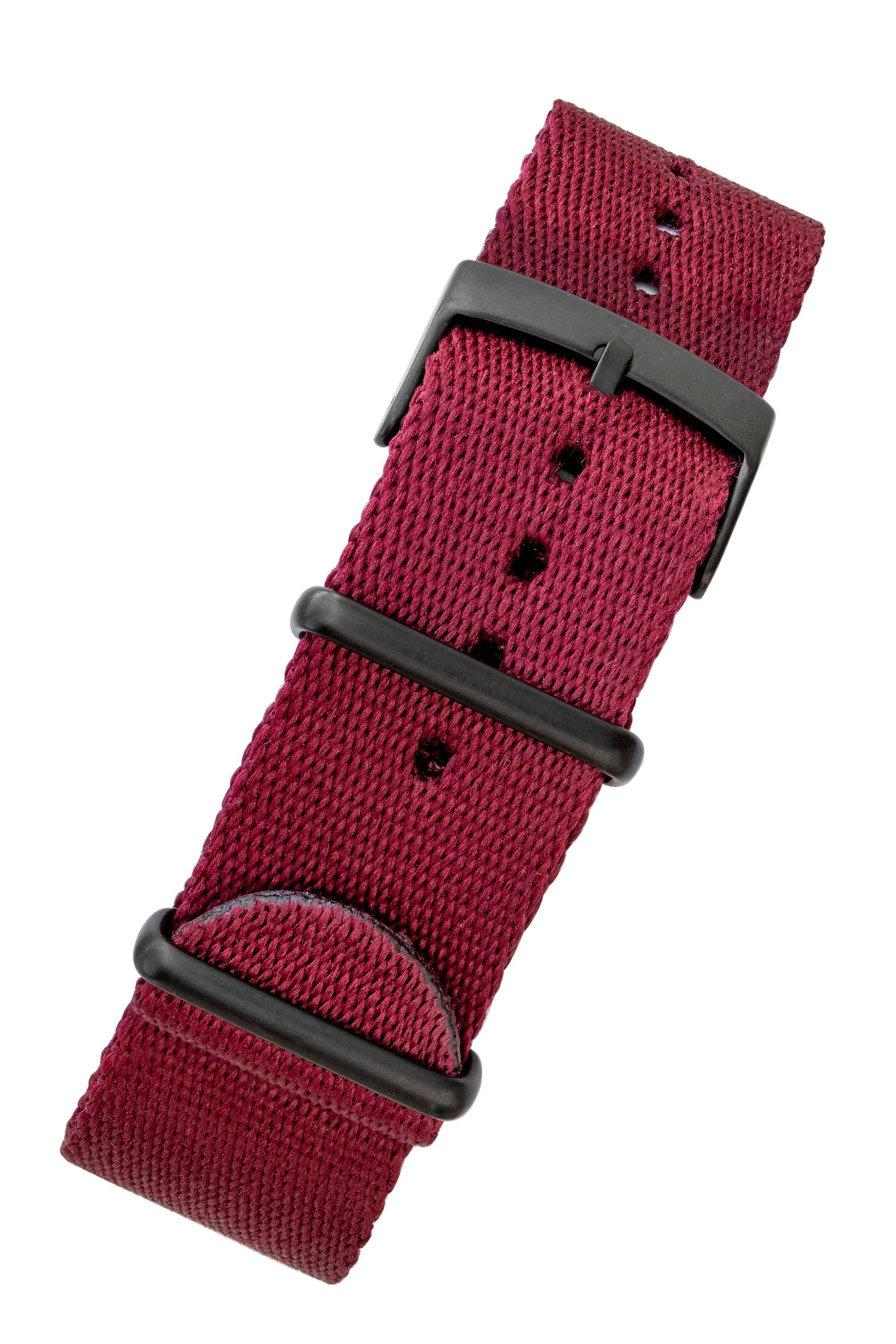 Premium NATO Watch Strap in BURGUNDY with Black PVD Hardware