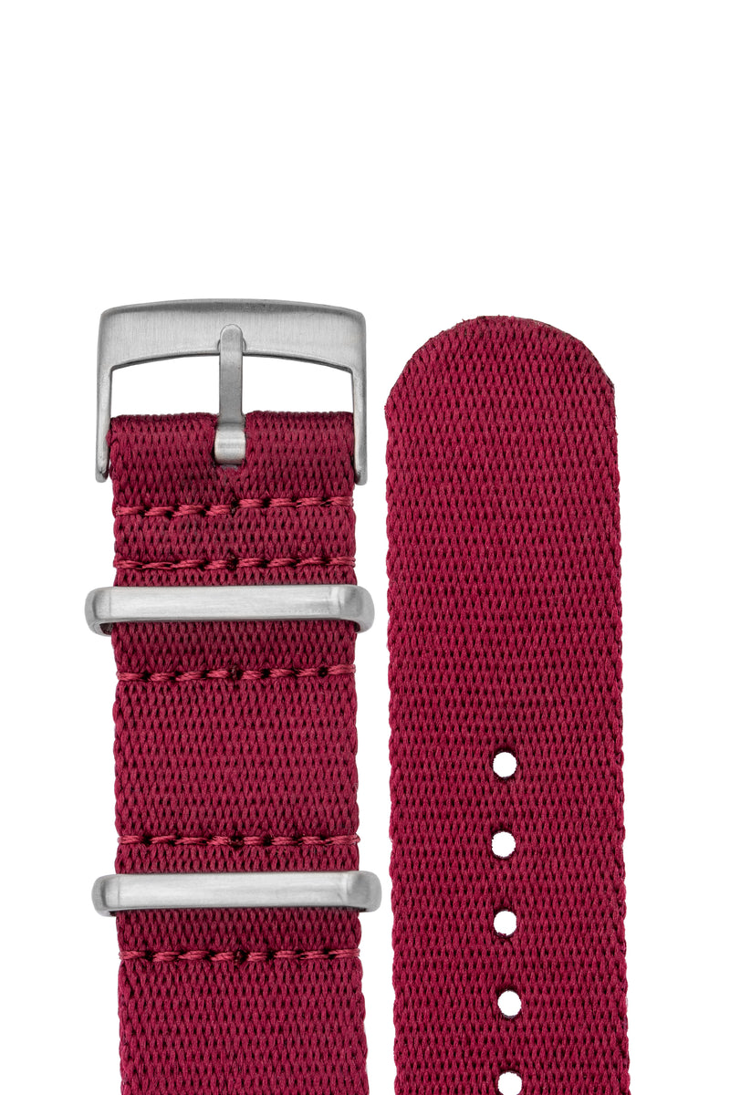 Premium NATO Watch Strap in BURGUNDY with Brushed Hardware